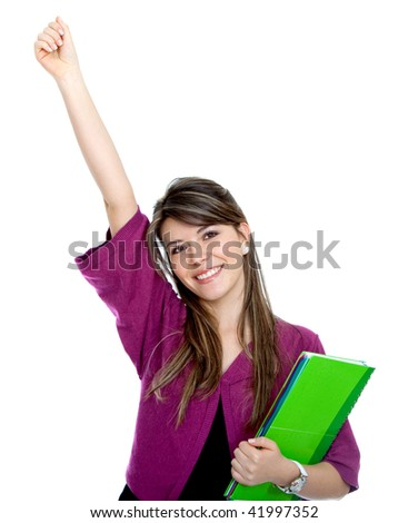 Beautiful happy female student with a notebook isolated on white