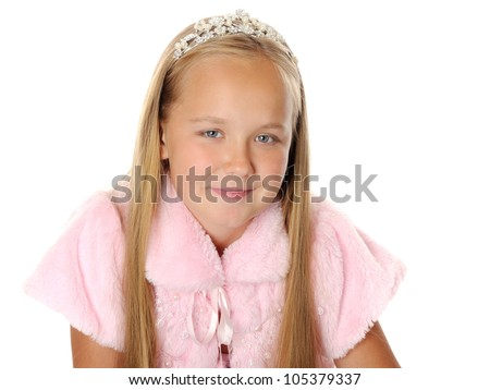 Beautiful happy girl princess, isolated on white