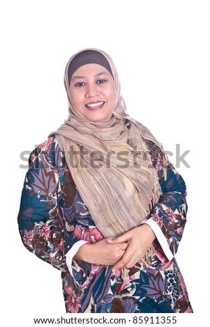 stock photo beautiful happy mature malay muslim woman in scarf 85911355 Mature muslim business woman Royalty Free Stock Photo