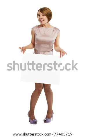 Beautiful happy woman holding white board full lenth, isolated