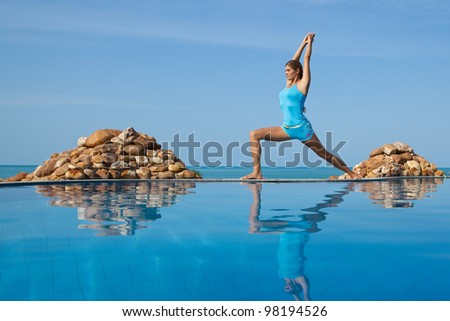 Beautiful happy woman in yoga poses
