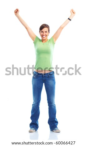 Beautiful happy woman. Isolated over white background