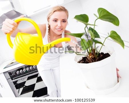 beautiful happy young housewife watering  the flower in the kitchen at home