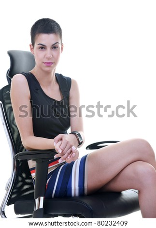 beautiful hapy young female woman brunette model posing on ergonomic business chair