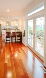 Beautiful Hardwood Floors, Doors, and Kitchen in Luxury Home