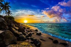 Beautiful Hawaiian Sunset on the North Shore of Oahu