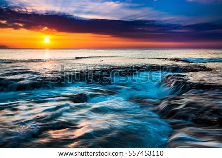 Beautiful Hawaiian Sunset on the North Shore of Oahu #557453110