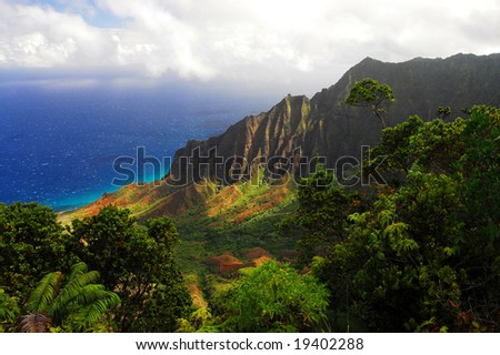 Beautiful Hawaiian Valley with a view of the Pacific Ocean