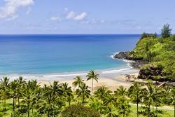 Beautiful Hawaiian white sand beach.
