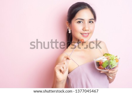 Pretty Young Caucasian Woman Eat Vegetable Salad Young