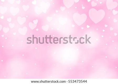 Beautiful heart bokeh pink background for texture. concept valentine day