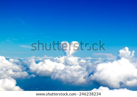 Beautiful heart cloud on blue sky background in valentine theme