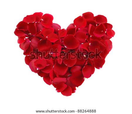 beautiful heart of red rose petals isolated on white