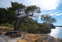 Beautiful hidden picnic spot along St Anthony's Channel that offers wonderful view of entrance to a city of Šibenik and one of the most beautiful parts of the Adriatic Coast