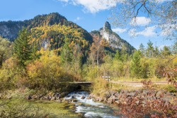 beautiful hiking area and pictorial landscape near oberammergau, view to ammer river and kofel mountain peak, upper bavaria