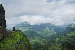 Beautiful hills and valleys as viewed at Malshej Point in Maharashtra, India