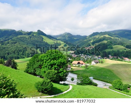 Beautiful hills near Gruyeres castle, Switzerland