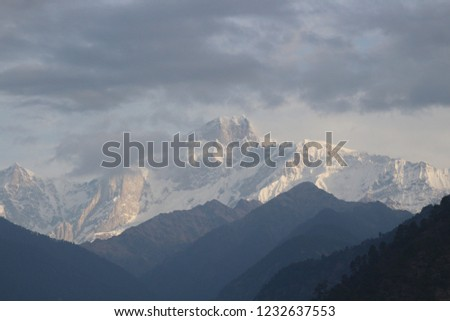 Beautiful Himalaya and temple in India   #1232637553