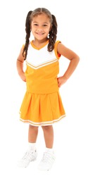 Beautiful hispanic cheer leader in uniform standing over white background with clipping path.