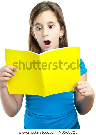 Beautiful hispanic girl reading a book with a surprised expression isolated on white - stock photo