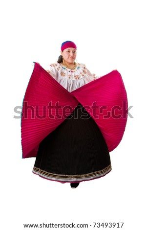 Beautiful Hispanic woman dancing in red with black folkloric clothes from Ecuador, Colombia, Peru, Bolivia or Venezuela, isolated.
