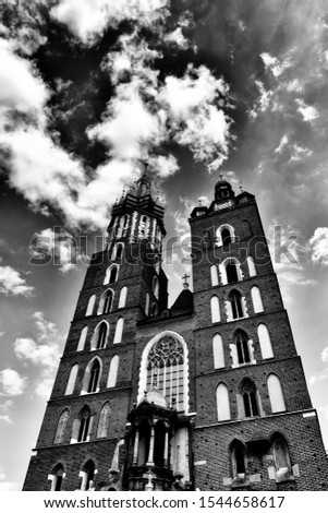 beautiful historic historic St. Mary's church in Cracow, Poland on a warm summer day #1544658617