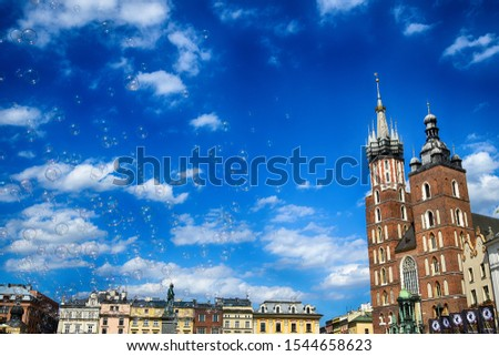 beautiful historic historic St. Mary's church in Cracow, Poland on a warm summer day #1544658623