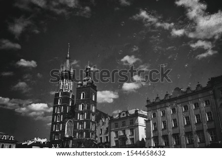 beautiful historic historic St. Mary's church in Cracow, Poland on a warm summer day #1544658632