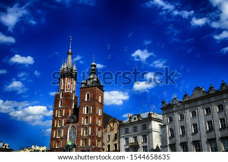 beautiful historic historic St. Mary's church in Cracow, Poland on a warm summer day #1544658635