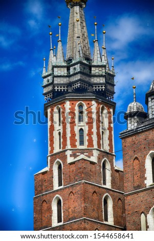 beautiful historic historic St. Mary's church in Cracow, Poland on a warm summer day #1544658641