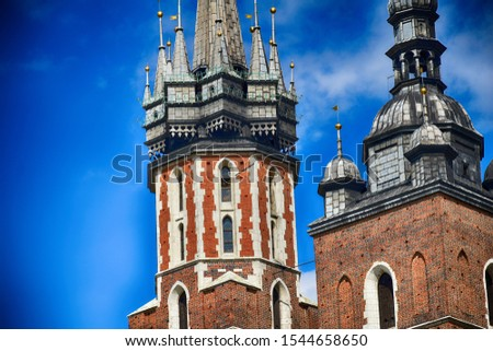 beautiful historic historic St. Mary's church in Cracow, Poland on a warm summer day