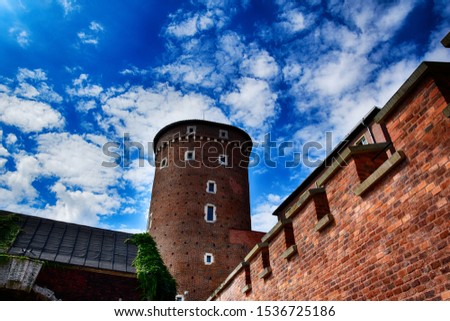 beautiful historical historic Polish royal castle Wawel on a warm summer day
