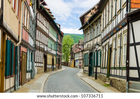 Beautiful historical Street in Germany with colorful houses
