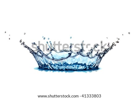 beautiful hits of blue water on white background