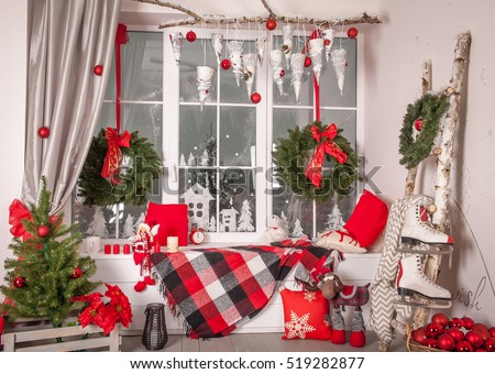 beautiful holdiay decorated room with lantern on window sill christmas tree with presents under it - Window Sill Christmas Decorations