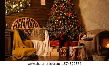 Beautiful holiday decorated room with Christmas tree. Led lighting, cozy home scene. Nobody there. #1574577379