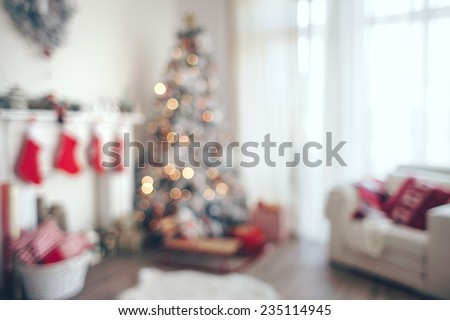 Beautiful holiday decorated room with Christmas tree, out of focus shot for photo background #235114945