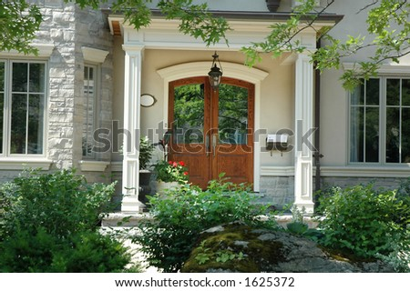 Beautiful Front Doors on Beautiful Home Entrance   Front Doors Made Of Wood Stock Photo 1625372