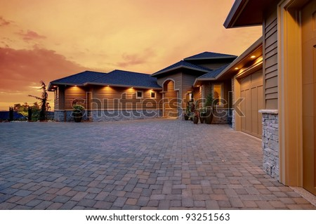 Beautiful Home Exterior with Sunset Glow