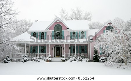 beautiful home in snow