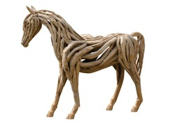Beautiful  horse made of wood isolated on the white background.