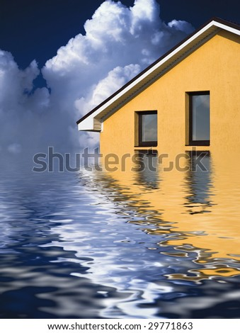 Beautiful house above the ocean under the sky - stock photo