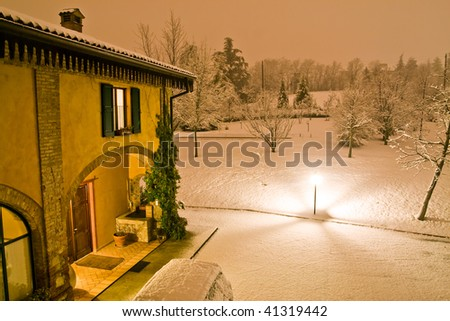 Beautiful house in a winter night