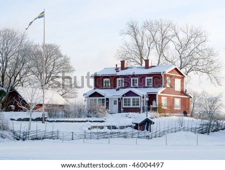 Beautiful house in winter sun