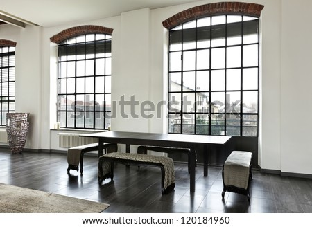 beautiful house, interior, view of the dining table