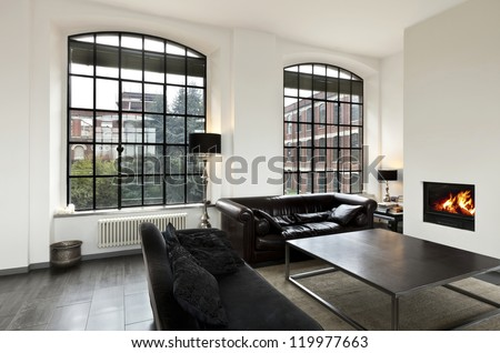 beautiful house, interior, view of the living room #119977663