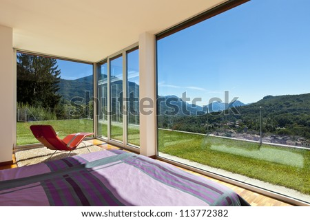 beautiful house, modern style, room view from the bedroom