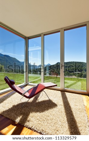 beautiful house, modern style, room view with a chair