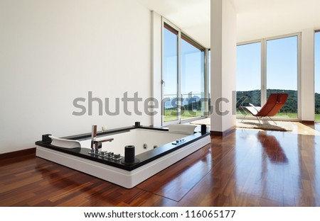 beautiful house, modern style, room with jacuzzi