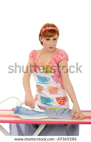 Beautiful house woman ironing mens shirt. isolated on white background